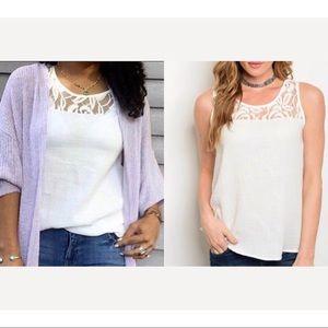 Cream tank top blouse w/lace detail, PRETTY!